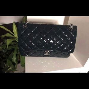 Auth CHANEL Patent Dark Blue Jumbo Double Flap